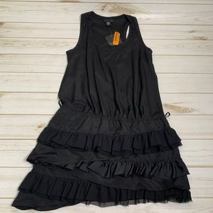 Black ruffle dress by Apostrophe